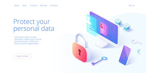 Personal data security in isometric vector illustration. Online file server protection system concept with computer and lock. Secure information transfer background template for web banner.
