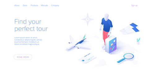 Travelling by air concept in isometric vector illustration. Around the world flight tour or trip. Cheap airline tickets searching and booking service Website layout or web banner template.