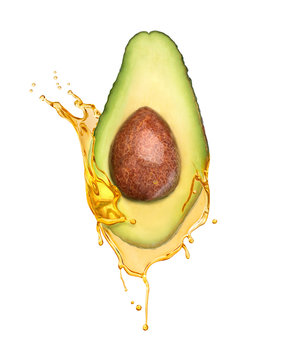 Avocado for cosmetics. Oil with avocado on a white background
