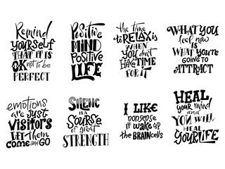 Poster Positive Typography Vector lettering. Set of Meditatin motivation quotes. Hand drawn calligraphic design