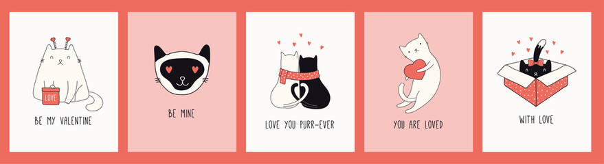 Foto op Plexiglas Illustraties Collection of hand drawn Valentines day greeting cards with cute cats in hats, hearts, gifts, quotes. Vector illustration. Line drawing. Design concept for holiday print, invite, banner, gift tag.