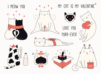 Deurstickers Illustraties Collection of cute funny doodles of different cats, with hearts. Isolated objects on white background. Hand drawn vector illustration. Line drawing. Design concept Valentines day card invite, print.