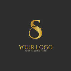 S Initial letter Gold Logo Icon classy gold letter suitable for boutique restaurant wedding service hotel or business identity