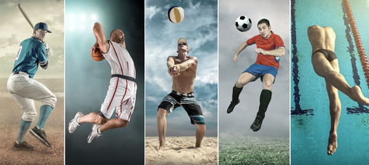 Collage of professional sport athlettes. Baseball, basketball, beach volleyball, soccer, football, swimming.