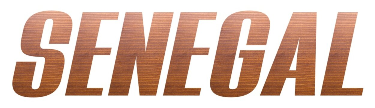SENEGAL word with brown wooden texture on white background.