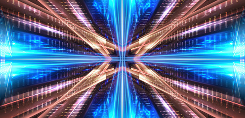 Abstract neon background. Blue neon. Geometric shapes, symmetrical reflection. Wall mural