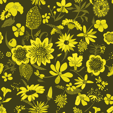 A yellow variety of flowers seamless vector pattern on a dark background. Decorative feminine nature themed surface print design.