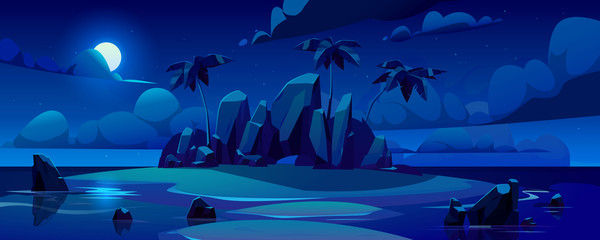 Night tropical island in ocean with palm trees, rocks and moon in sky. Vector cartoon illustration of summer sea landscape with paradise shore and sand beach in moonlight. Exotic travel and vacation Wall mural