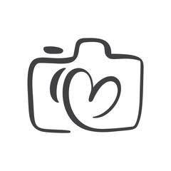 Calligraphic brush camera with heart graphic design concept, logo vector set. Valentine card graphic photo icon