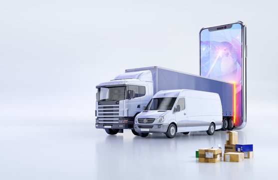 Fast shipping delivery, online tracking service app 3D illustration concept with delivery truck, cargo van, parcel boxes, mobile smartphone, logistics map, location marks. Logistic network application