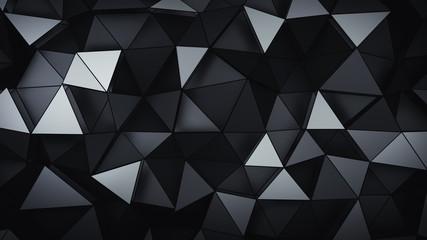 Multilayered polygonal black structure 3D rendering illustration