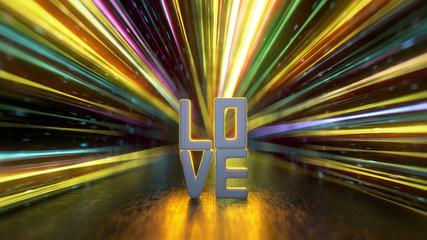 Love text 3D render illustration