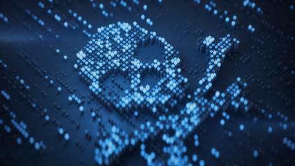 Blue digital Jolly Roger symbol 3D rendering illustration