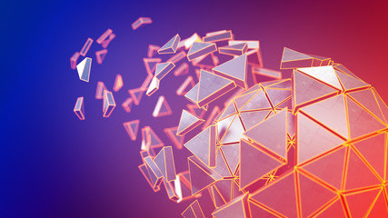 Spinning polyhedron and glowing edges 3D render illustration