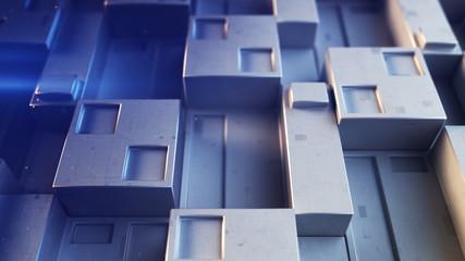 Futuristic sci-fi metallic blue wall 3D render illustration