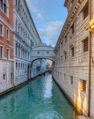 The famous Bridge of Sighs (Ponte dei Sospiri), Venice, Italy.