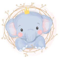cute baby elephant illustration, nursery decoration.