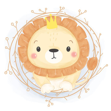 adorable lion illustration, nursery decoration, animals drawing