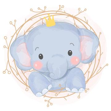 cute baby elephant illustration, nursery decoration.