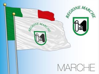 Marche official regional flag and coat of arms, Italy, vector illustration