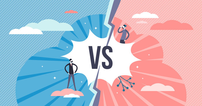 Versus split screen abstract concept, flat tiny persons vector illustration