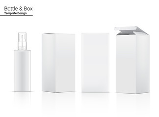 Spray Bottle Mock up Realistic Cosmetic and Box for Skincare Product on White Background Illustration. Health Care and Medical Concept Design. Wall mural
