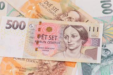 Close-up Czech Money , 500, 200, 100 Czech korun banknotes