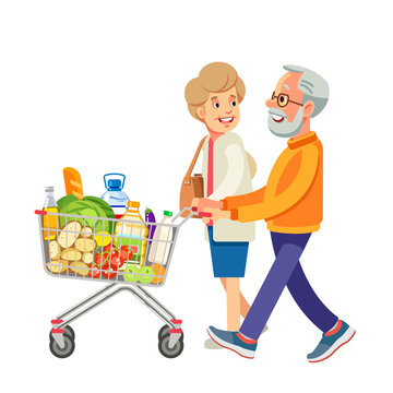 Happy old people shopping. Retired couple with shopping trolley with foods in the supermarket. Elderly man and woman at the grocery. Isolate on white background. Vector illustration in flat style