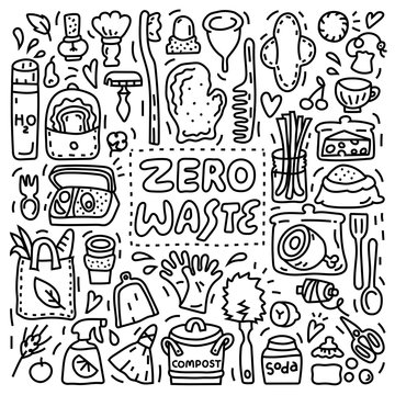 Outline Zero waste illustration, doodle style, lettering