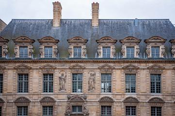 Exterior facade of a Parisian building, Paris France