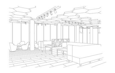 Outline sketch of a modern cafe with sofa and tables