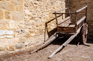In Spello, Umbria, a typical old vintage cart