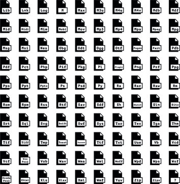 Pictogram file kit. Files extension set.