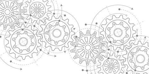 Technical drawing of gears .Rotating mechanism of round parts .Machine technology. Vector illustration.	 Fototapete