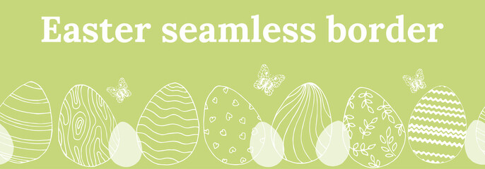 Beautiful seamless border for Easter with eggs and butterflies.