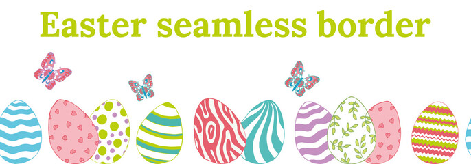 Beautiful colored seamless border for Easter with eggs and butterflies.