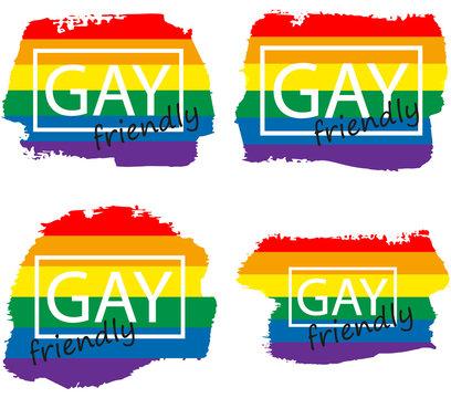 Lgbt+ gay rainbow flag set on the grunge watercolor splash. Gay and lesbian pride symbols. Sticker, patch, t-shirt print, logo design.