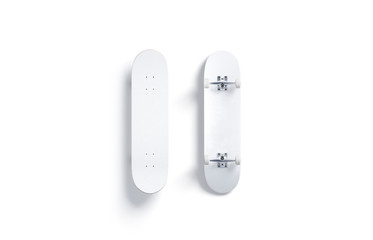 Blank white wood skateboard mockup, front and back side