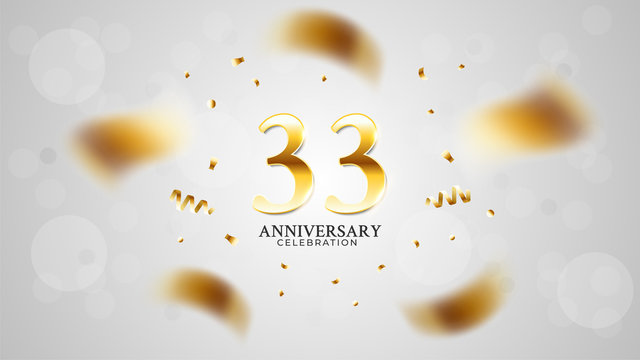 33rd anniversary celebration with gold color and white background bokeh effects and sparkling confetti. modern elegant design can be used for a wedding or company. editable vector EPS 10