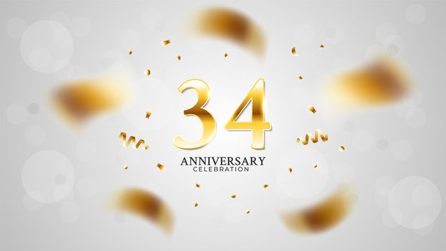 34th anniversary celebration with gold color and white background bokeh effects and sparkling confetti. modern elegant design can be used for a wedding or company. editable vector EPS 10