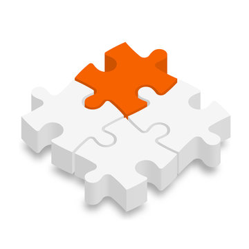 3D jigsaw puzzle pieces. White pieces with one orange highlighted. Team cooperation, teamwork or solution business theme. Vector illustration with dropped shadow