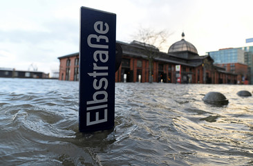 Famous landmark Fish Market is flooded as storm Sabine hits the harbour in Hamburg