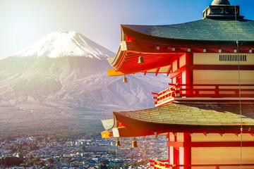Sunrise of Fuji mountain and red Pagoda at dawn, Japan
