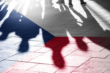 Shadows of People and Czech Flag, concept Picture about vote, rights People