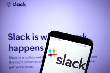 KONSKIE, POLAND - December 07, 2019: Slack platform logo on mobile phone
