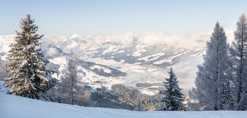 Panoramic winter view of  Kirchberg in Tirol and surrounding valley in the Kitzbühel ski area, Austria.
