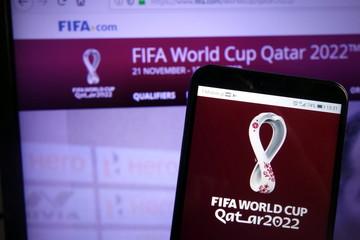 KONSKIE, POLAND - December 07, 2019: Fifa World Cup Qatar 2022 logo on mobile phone