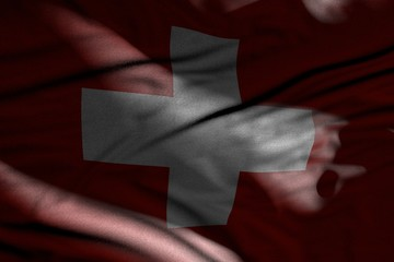 pretty picture of dark Switzerland flag with folds lying in shadows with light spots on it - any holiday flag 3d illustration..