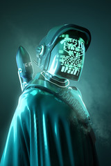 Photo sur Aluminium Pain Mysterious Human model in a futuristic space outfit. Technology and people 3D illustration.