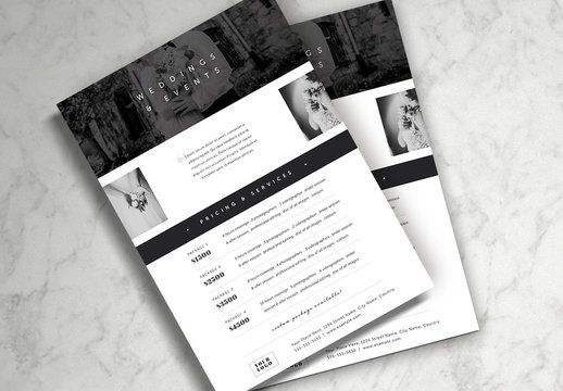 Black and White Pricing Guide Layout